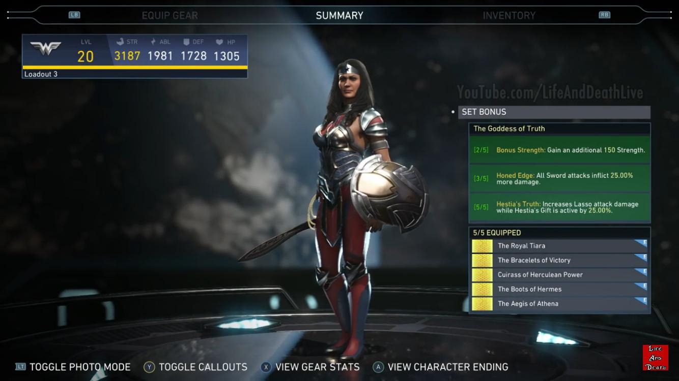 Wonder Woman S Goddess Of Truth Epic Gear Set Injustice 2 Injustice Injustice 2 Black Canary Injustice 2