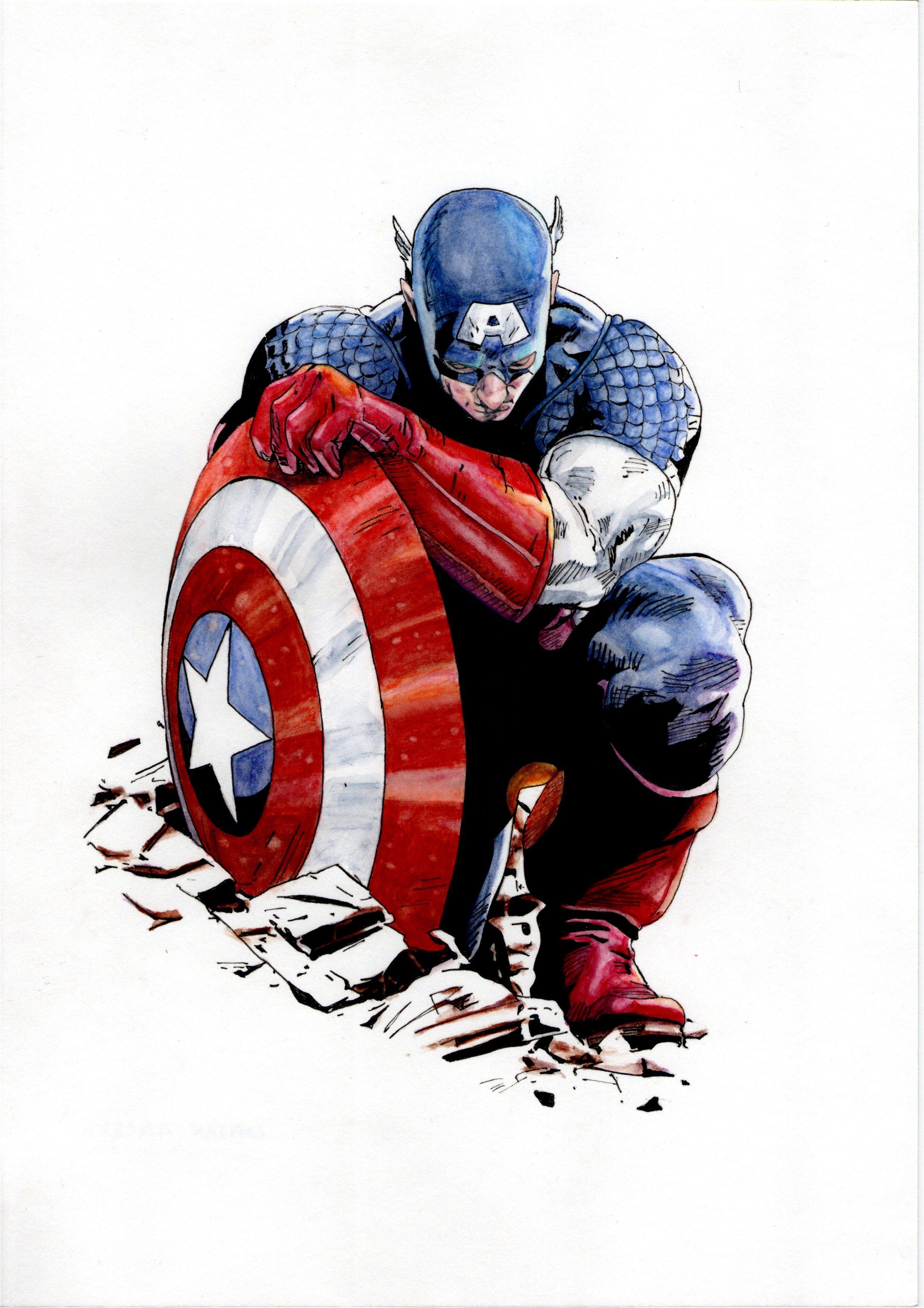 Capitan America (Captain America) (Watercolor) (Acuarela) José ...
