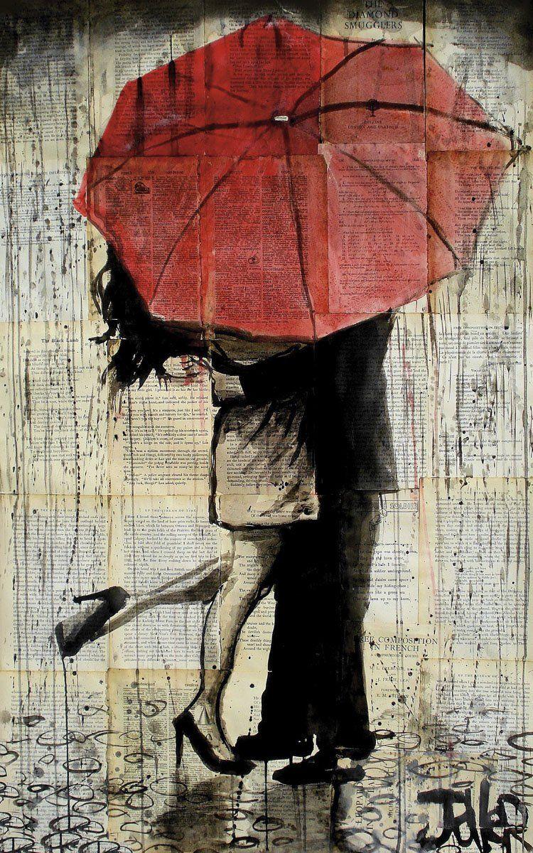 The Red Umbrella Art Artwork Red Umbrella