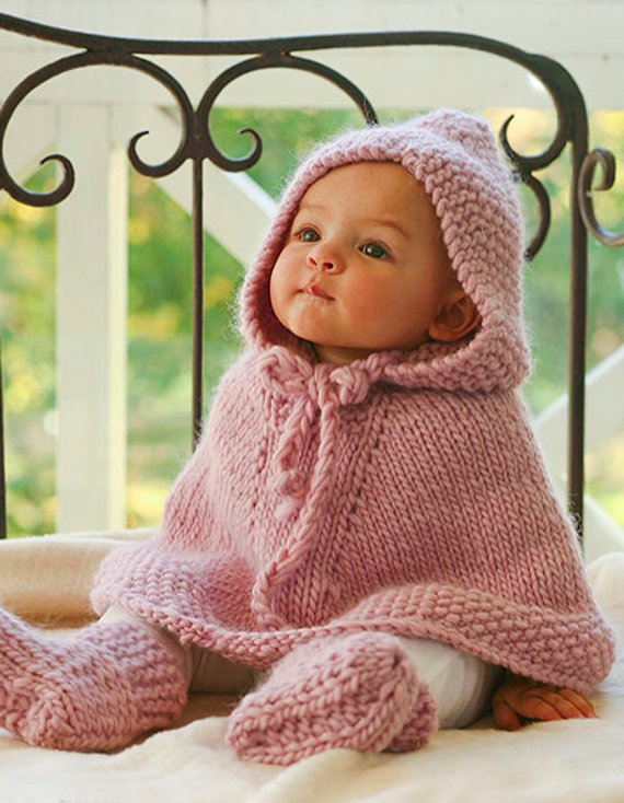 38392b872 Adorable Handmade Baby Poncho Cardigan with Hood and Booties ...