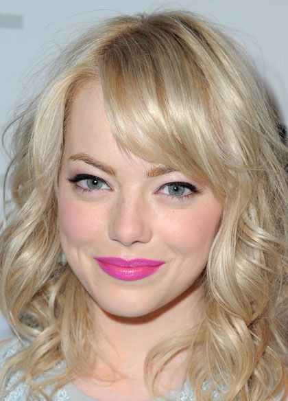 Emma Stone Make Up For Fair Skin Green Eyes Fushia Lip Color