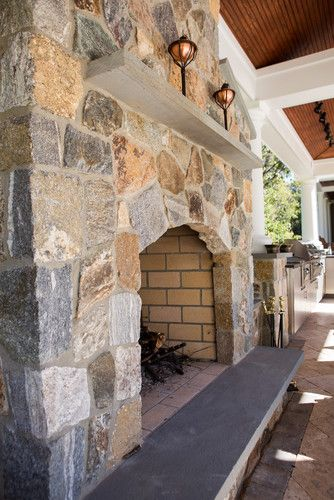 The Fireplace And Chimney Were Also Faced With The Boston Blend
