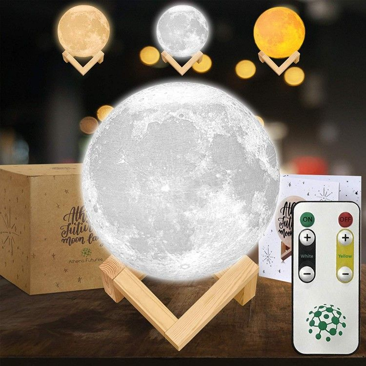 Moon Lamp In 2020 Cool Lamps Wooden Stand Night Light