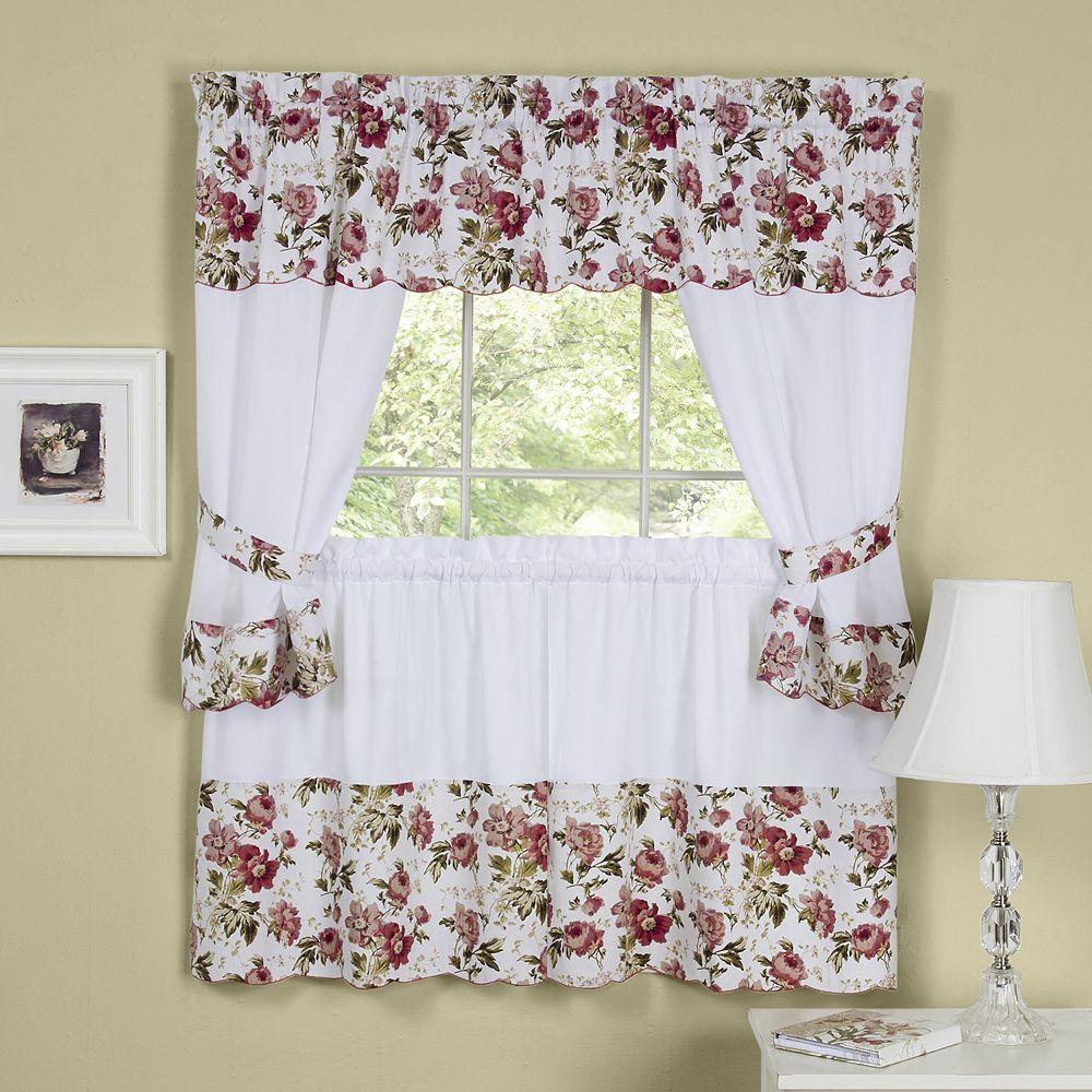Wisteria pc Swagger Tier Cottage Kitchen Curtain Set Pink