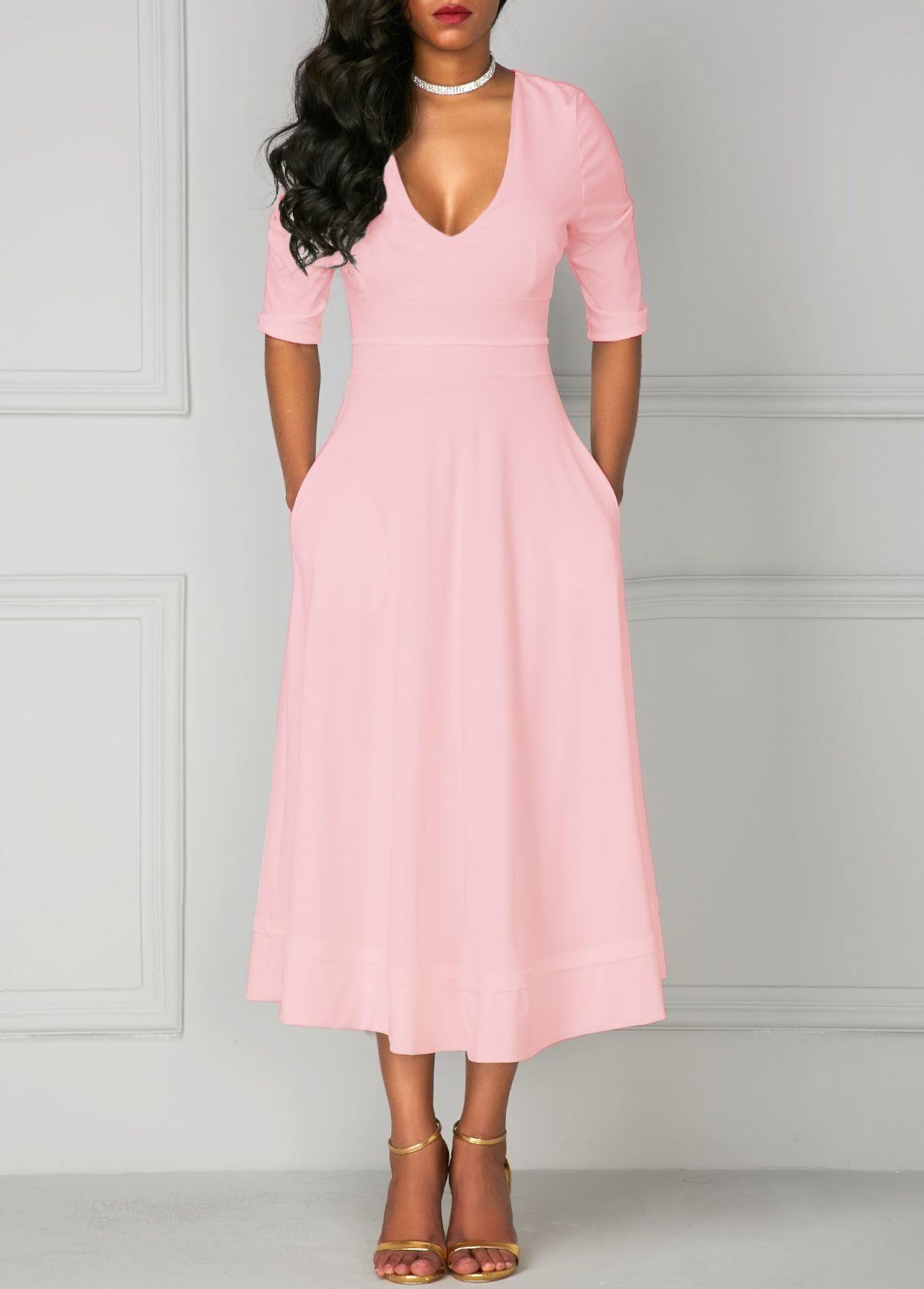 V Neck Solid Pink High Waist Dress | Vestidos de fiesta, Vestiditos ...