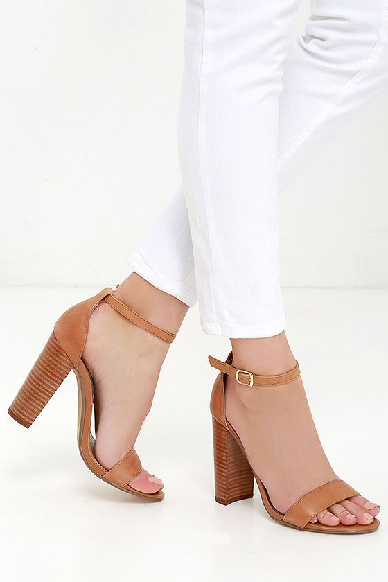 Steve Madden Carrson Tan Leather Ankle Strap Heels