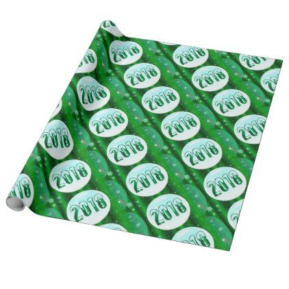 Green 2018 New Year Wrapping Paper   new years eve happy new year
