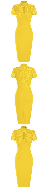 MUXXN Women's 1940's Vintage Floral Lace Keyhole Bodycon Hot Pencil Dress(XL,Yellow)