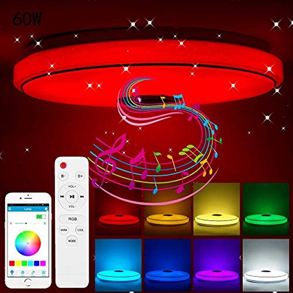 Accede Led Musik Deckenleuchte Mit Bluetooth Lautsprecher 60w Rgb Farbwechsel Mit App Fernbedienung Dimmbar Modern In 2020 Deckenlampe Schlafzimmer Lampe Fernbedienung