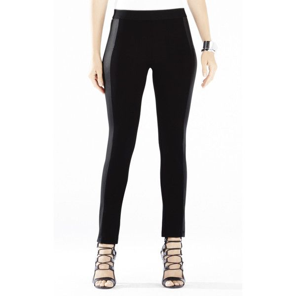 BCBG Wilmer Color-Blocked Faux-Leather Leggings ($158) ❤ liked on Polyvore featuring pants, leggings, black, black leggings, vegan leather leggings, leather look leggings, wetlook leggings and color block leggings