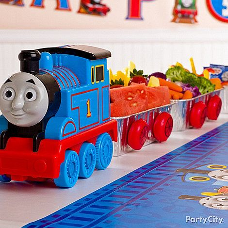 Thomas The Tank Engine Party Ideas Serve Snacks In Aluminum Train Cars