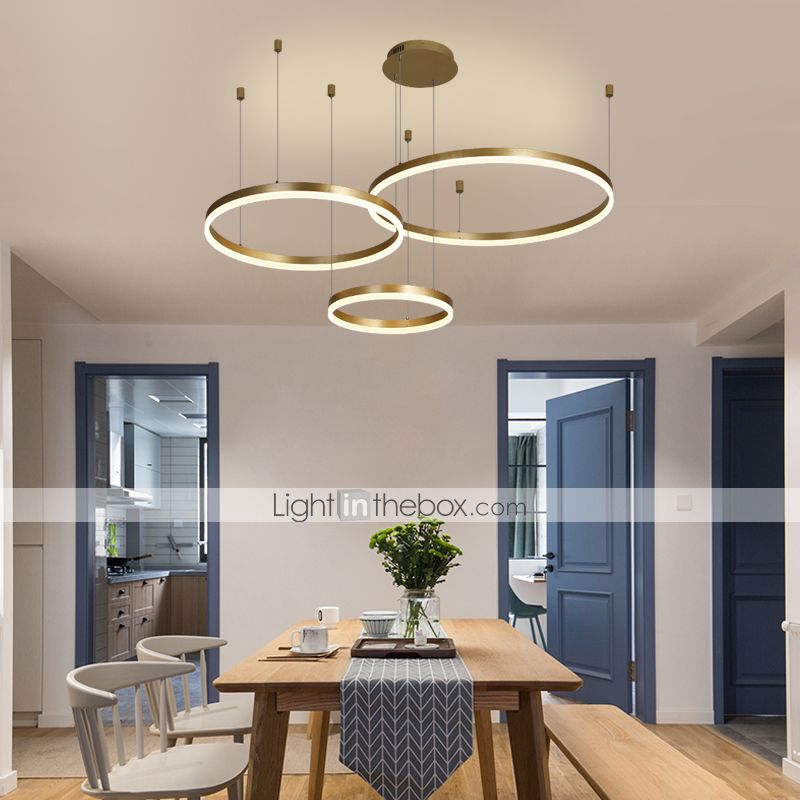 1 Light Led 90w Circle Chandelier Led Modern Pendant Lights For Living Room Coffee Bar Show Room Big Size Warm White White Dimmable With Remote Control In 2020 Living