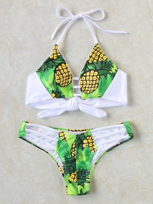Pineapple Print Ladder Cutout Tie Back Bikini Set