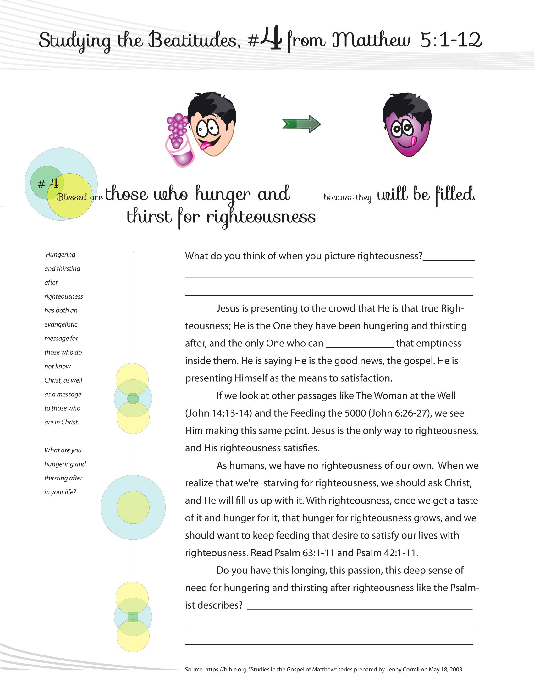Worksheet To Teach The 4th Beatitude Of The Christian Life
