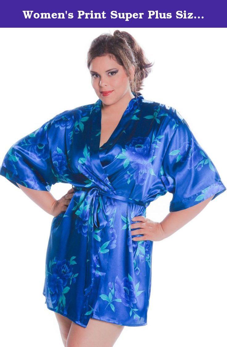 78e8152b705 Women s Print Super Plus Size (4x-6x) Short Kimono Robe  3076xx (
