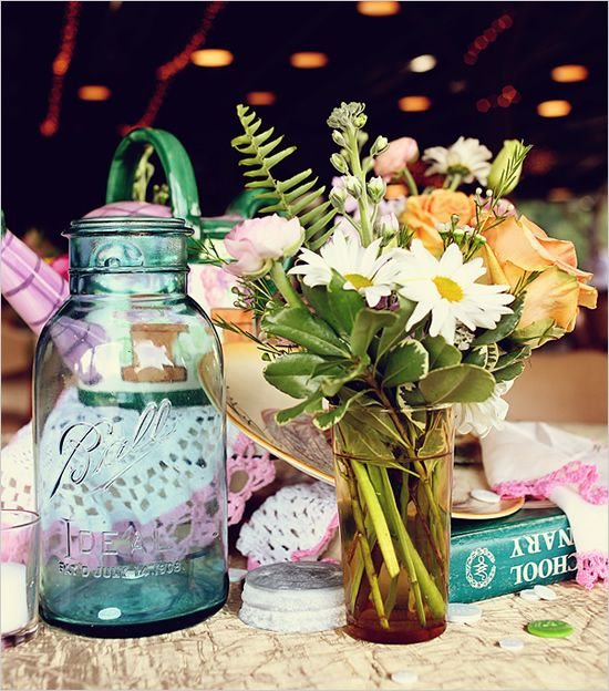 Blue Mason Jars Wedding Ideas: North Carolina Pink And Blue Vintage Wedding