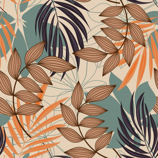 Trend abstract seamless pattern with colorful tropical leaves and plants on beige Premium Vector | Premium Vector #Freepik #vector #pattern #flower #floral #abstract