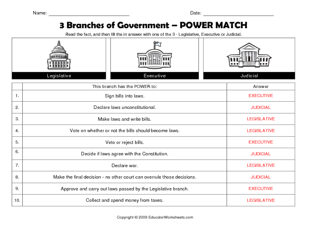 3 Branches Of Government Power Match Worksheet For 5th