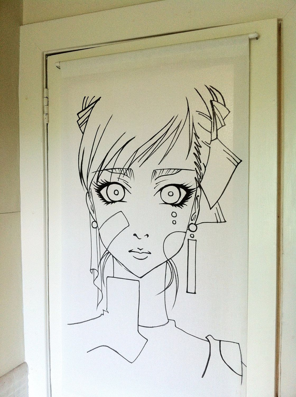 Custom anime blind - for door/window/wall. £24.99, via Etsy.