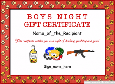 Boys night gift certificate template for your husband or boys night gift certificate template for your husband or boyfriend free to customize download and print at clevercertificates yelopaper Image collections