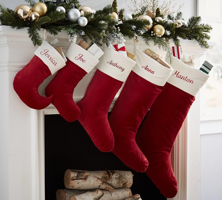 $8 Velvet Stocking - Red with Ivory Cuff Christmas stockings - christmas decorations sale