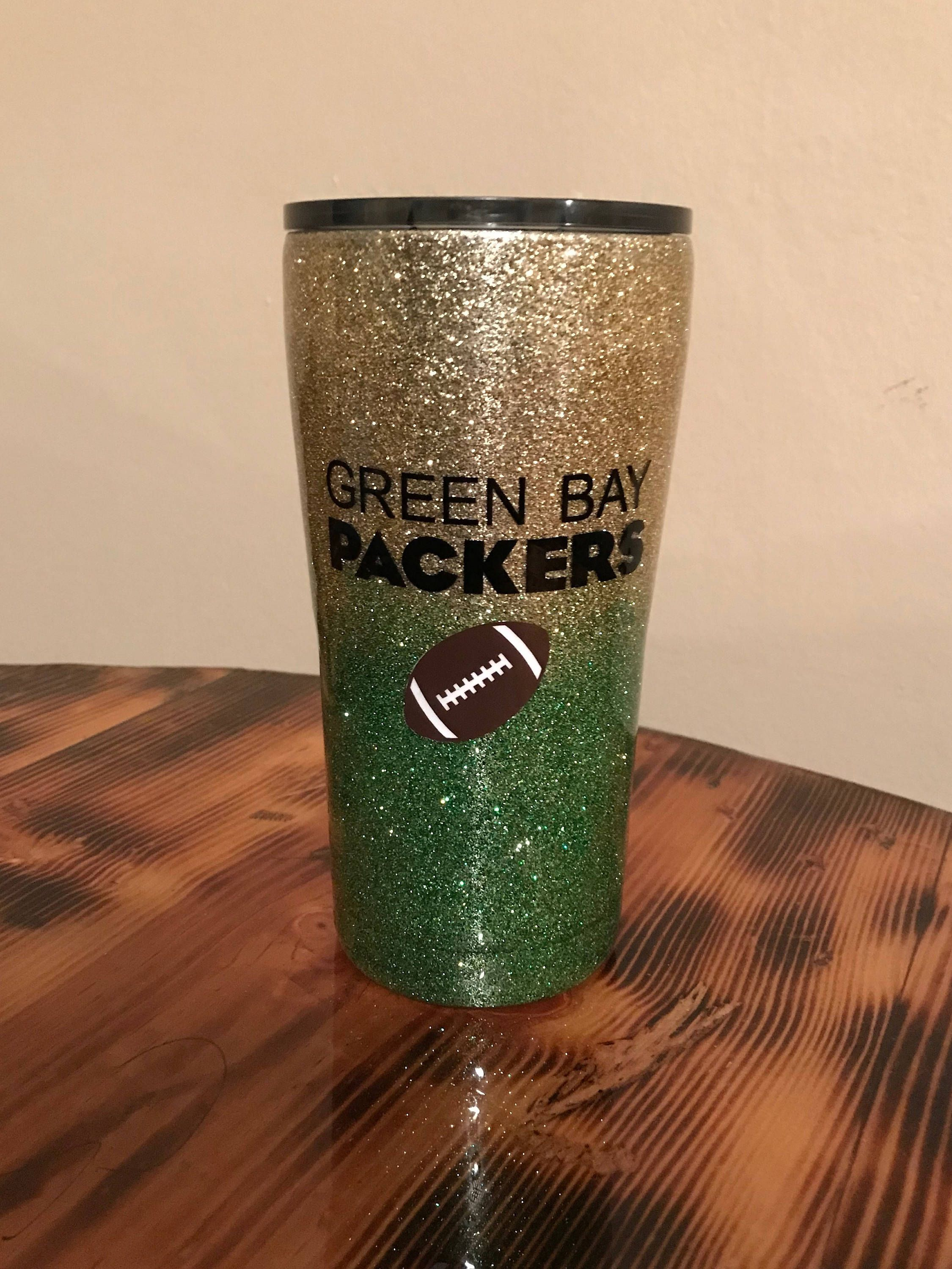 Green Bay Packers Glitter Tumbler By Mandykingcreations On Etsy Green Bay Packers Green Bay Packers