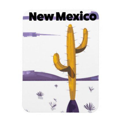 New Mexico Cactus vintage style vacation poster. Magnet - vintage gifts retro ideas cyo
