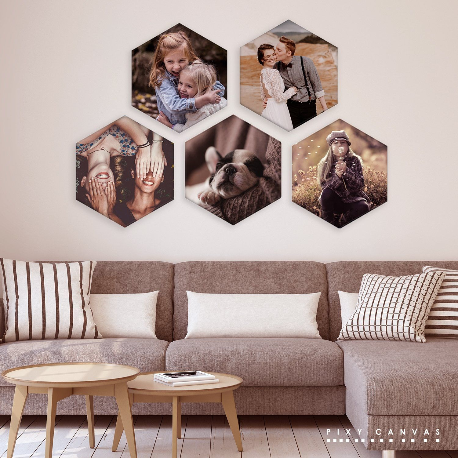Photo On Honeycomb Canvas Vertical Hexagon Wall Art Create Your Unique Gift For Yourself And Your Fam Canvas Wall Collage Canvas Photo Wall Photo Wall Decor
