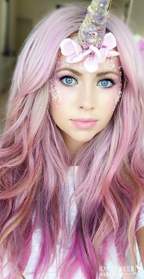 Love This Unicorn Look With Mermaid Pink Wavy Hair Maquillaje De Fantasia Maquillaje Disfraz Color De Cabello