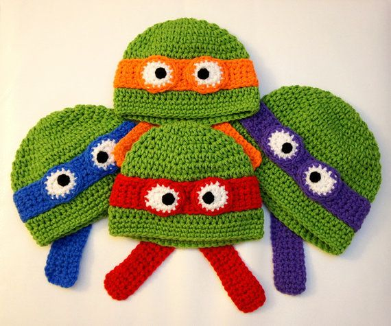 Ninja Turtles Hat, Teenage Mutant Ninja Turtles Hat, TMNT, Crochet ...