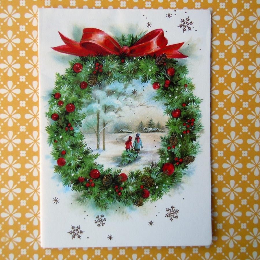 Vintage Christmas Greeting Card Christmas Wreath Kids Bringing