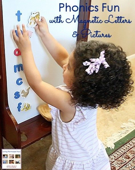 Magnetic letters and pictures can be used for easy-to-prepare, fun Montessori-inspired phonics activities for preschoolers! Post includes YouTube video and Montessori Monday linky.