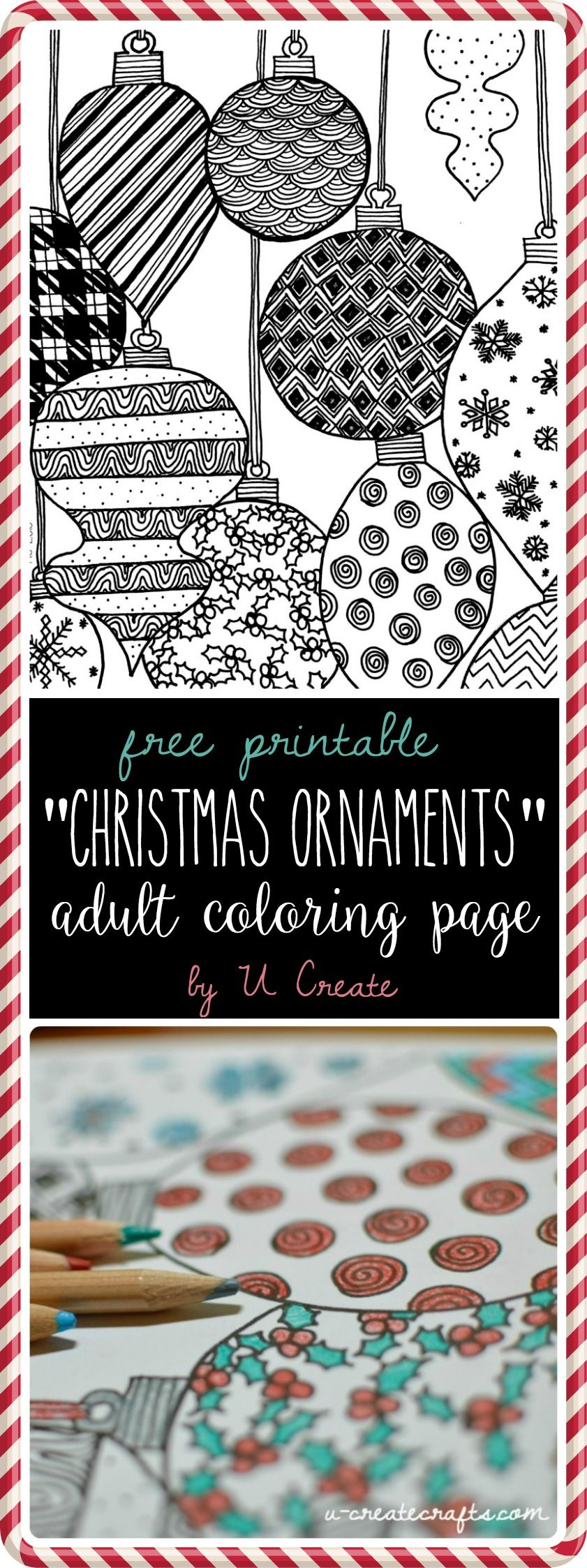 Pinterest christmas adult coloring pages -  Christmas Ornaments Adult Coloring Page