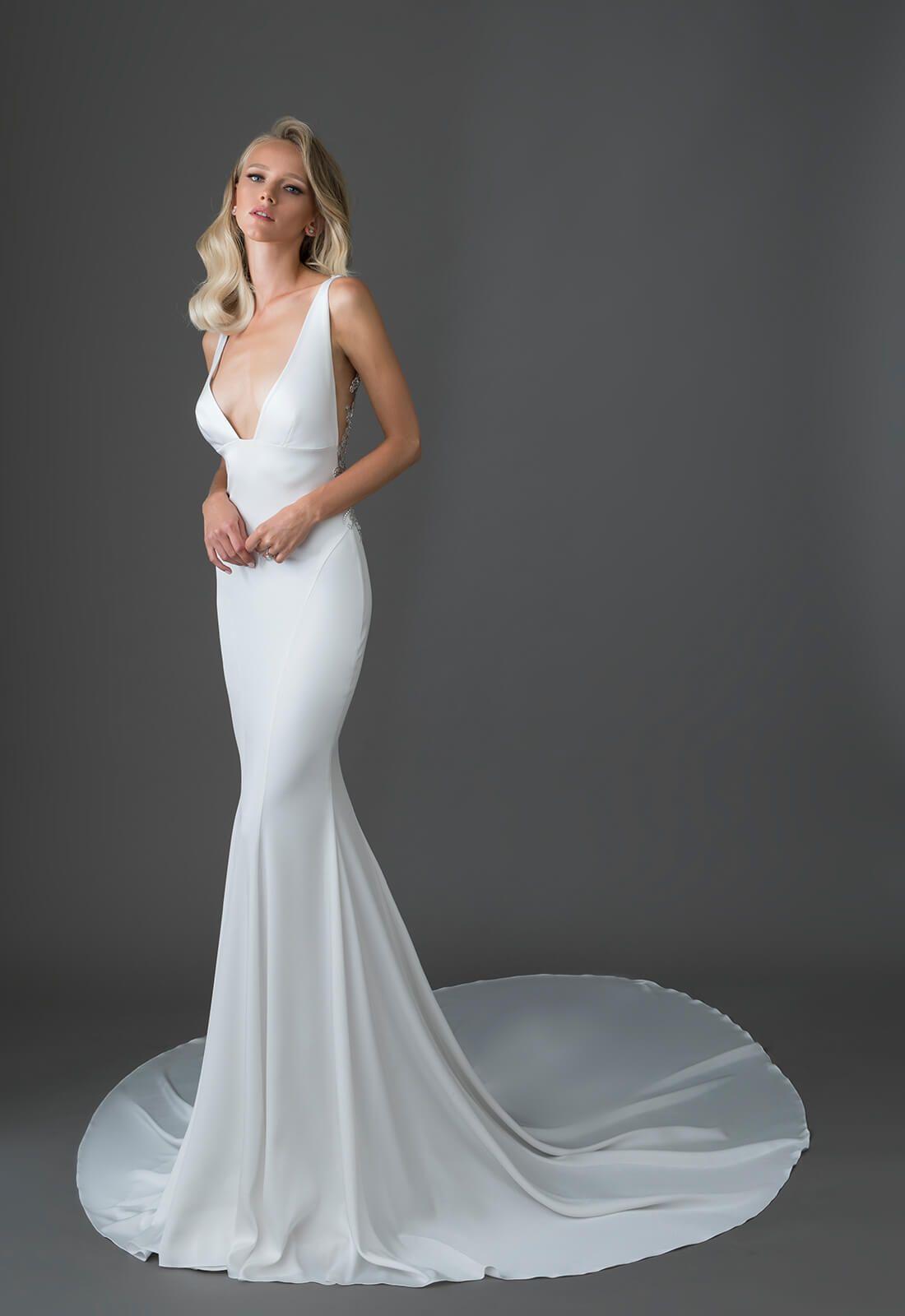 V Neck Crepe Sheath Wedding Dress With Crystal Embellishments Pnina Tornai Pnina Tornai Wedding Dress Wedding Dresses Kleinfeld Wedding Dress Preservation