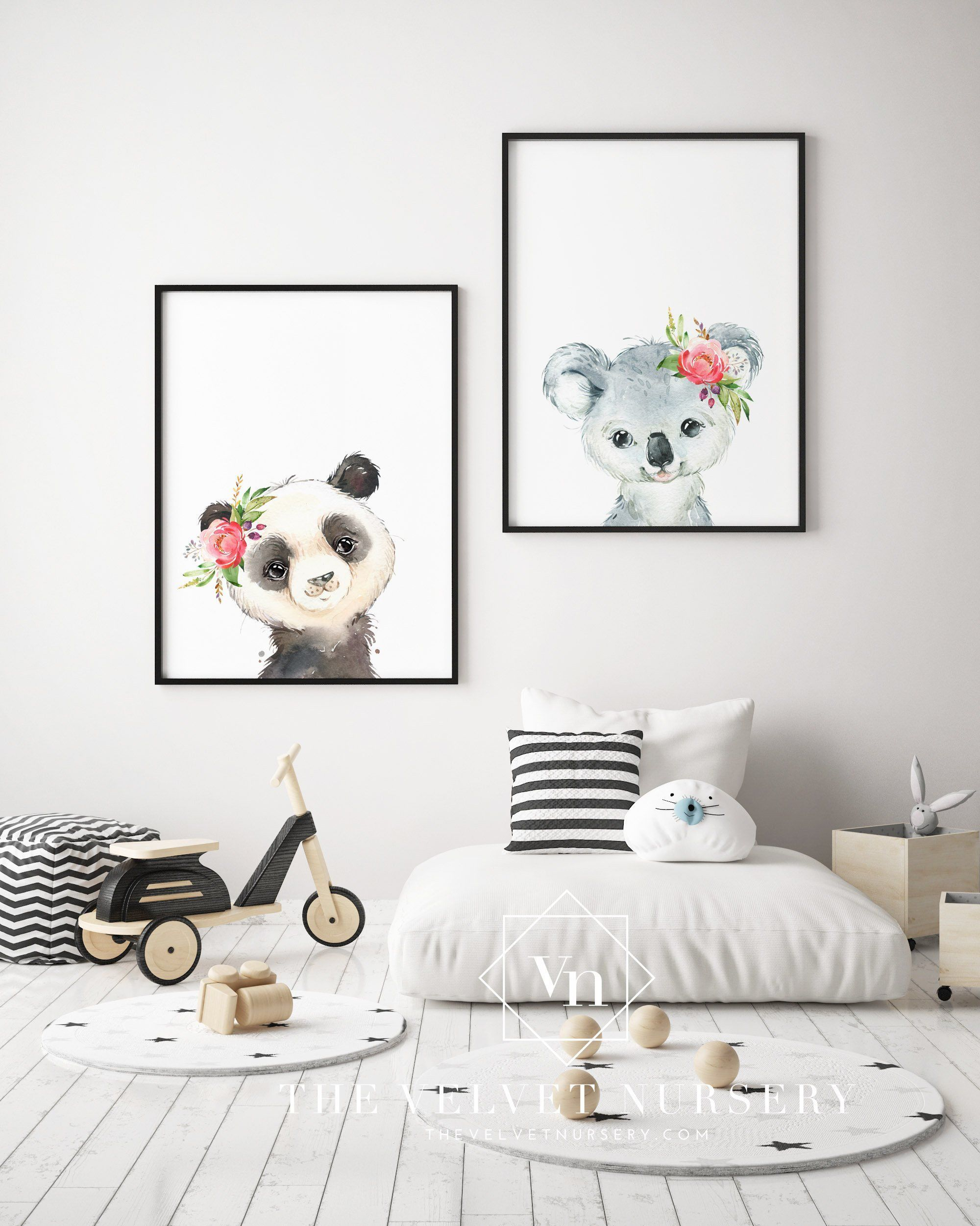 Koala and Panda Bear Set - Boho Nursery Print Wall Art Home Decor