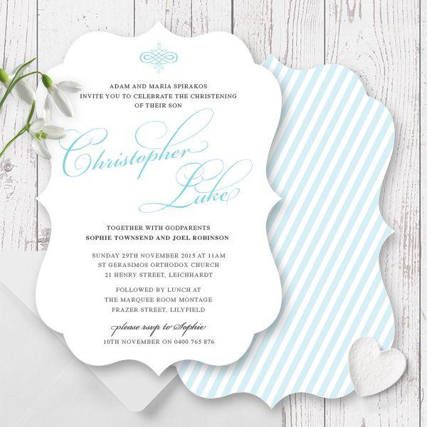 elegant christening or baptism invitation for a little boy designed