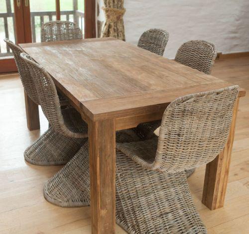 Reclaimed Teak Natural 6 seater Dining Table + 6 Zorro