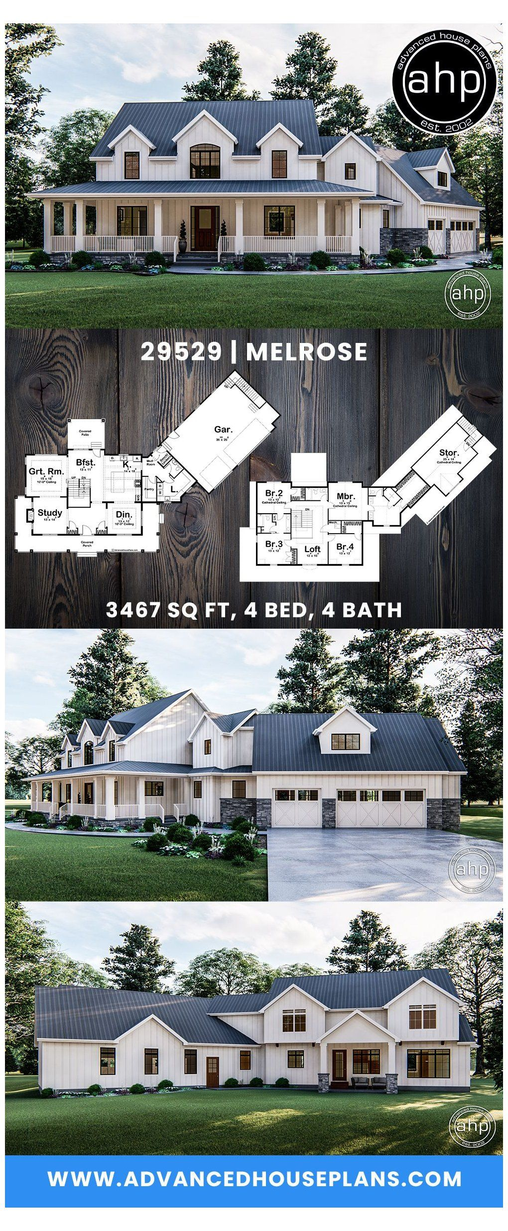 Stunning 4 Bedroom Modern Farmhouse With A Wrap Around Front Porch The House We Can Agree Upon In 2020 House Plans Farmhouse Modern Farmhouse Plans Farmhouse House