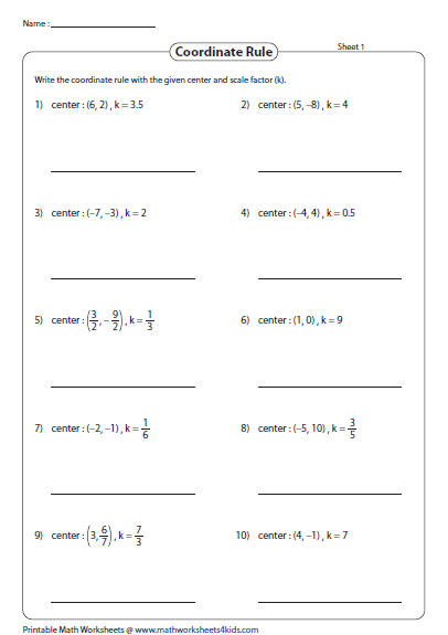Dilations Write The Coordinate Rule Printable Math Worksheets Dilations Math Worksheets