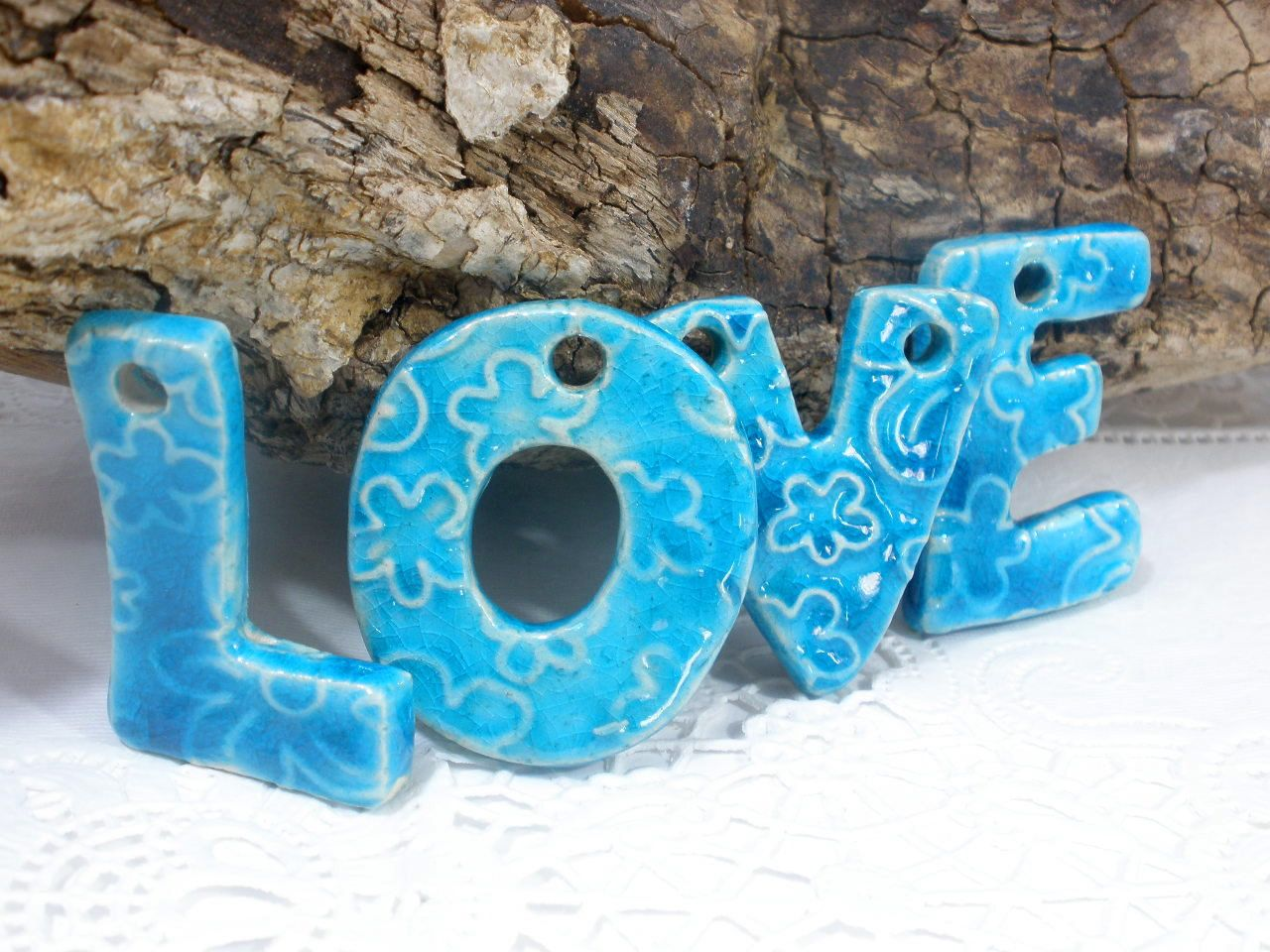 Wall Ornament Holiday Ornament Love Hanging Letters Ceramic Letters