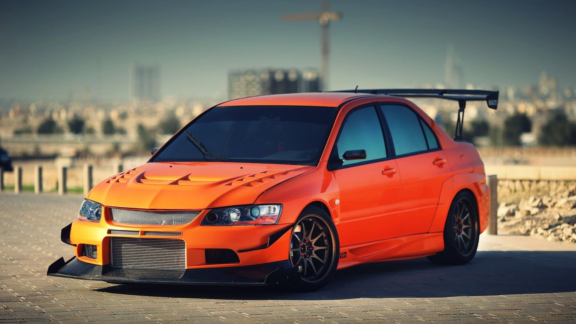 Orange Sedan Mitsubishi Mitsubishi Lancer Evolution Ix Car