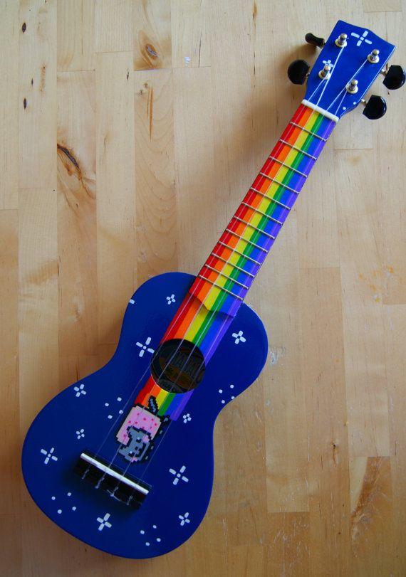 nyan cat ukulele por lizardpop en etsy just to cool in 2019 ukelele decorar guitarra. Black Bedroom Furniture Sets. Home Design Ideas