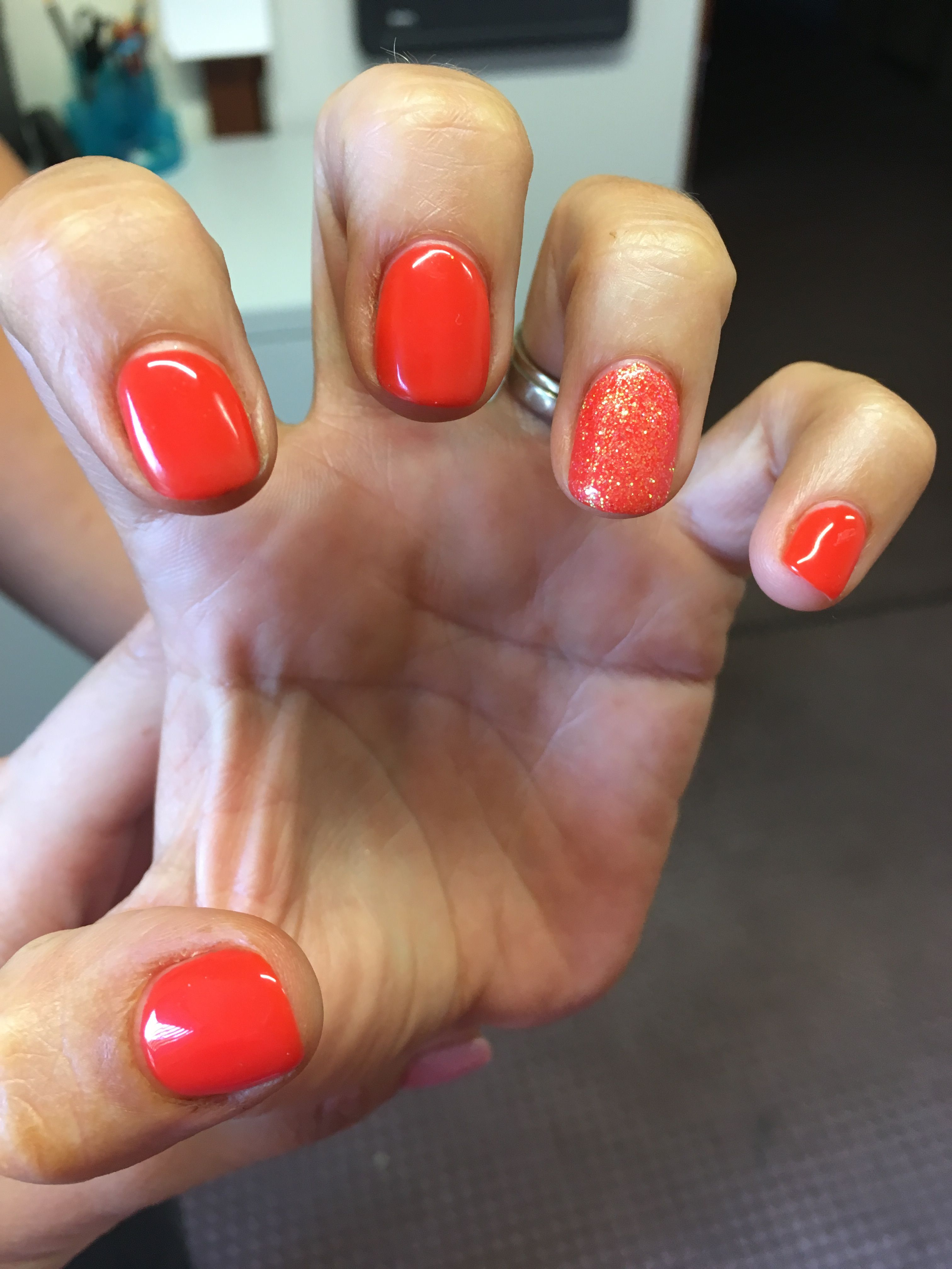 Cnd Shellac Electric Orange With Neon Coral Accent Nail In 2019 Cnd Shellac Coral Accents
