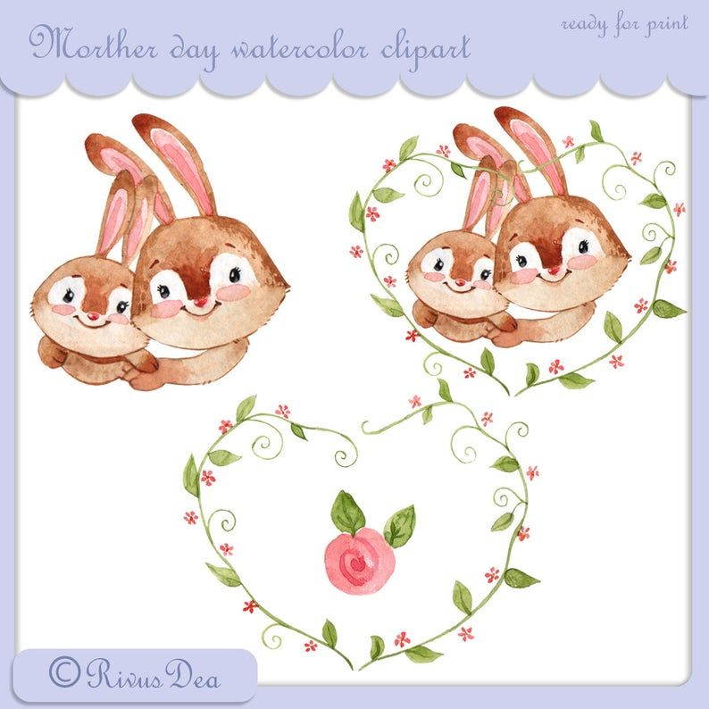 Mother S Day Watercolor Clipart Cute Baby Bunny And Mom Etsy Tilki Cizim Kaktus