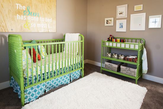 The nursery has an AMAZING palette of lime green, citron, and turquoise