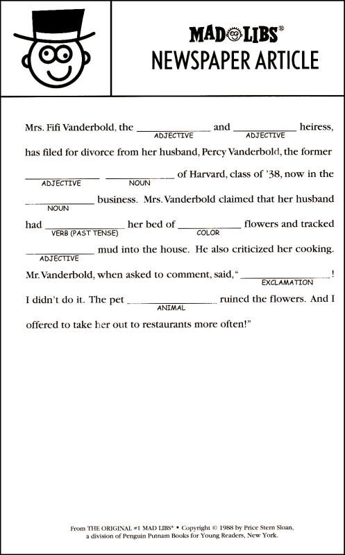 Current image for madlibs printable