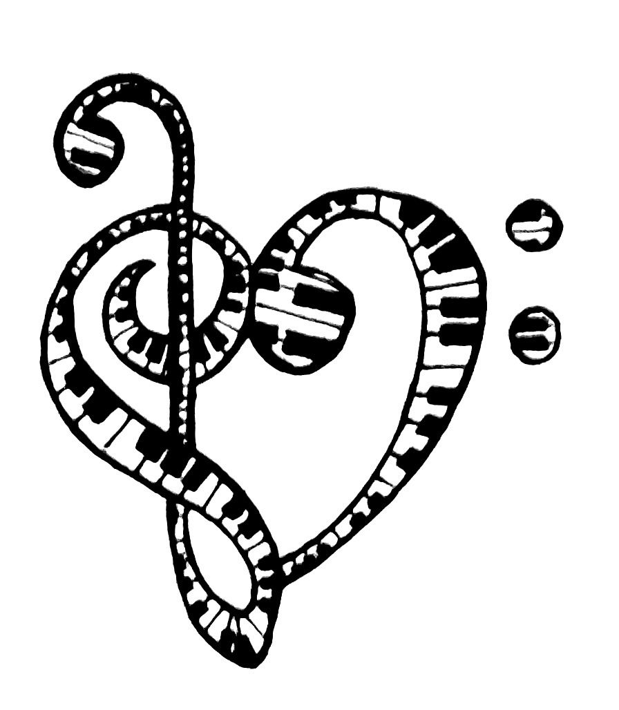 Keyboard treble and bass clef Music tattoos, Music notes