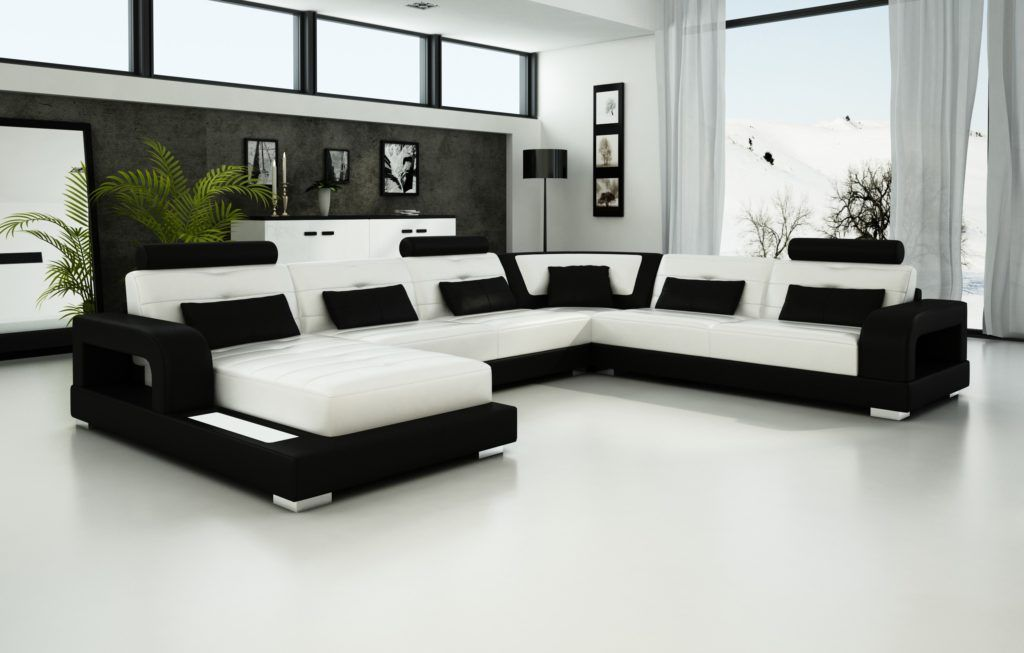 25 Black And White Leather Sofa Set For