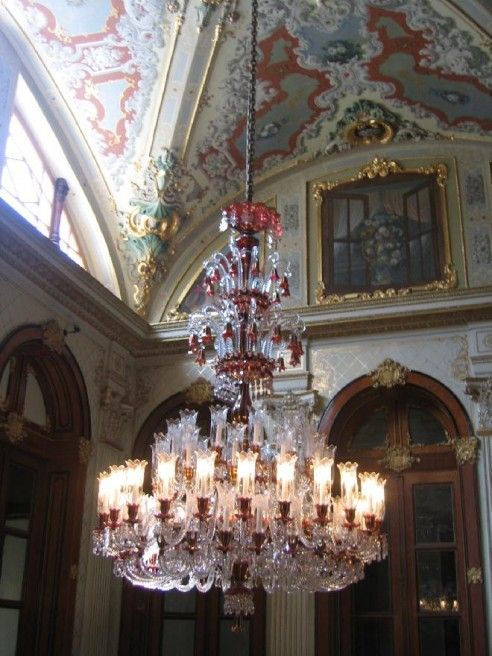 Baccarat Chandelier -Dolmabahce, Istanbul - Baccarat Crystal Chandelier. Signature Red Crystal In Each