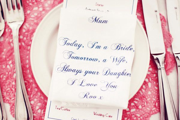 Awww Cute little note for mother of bride